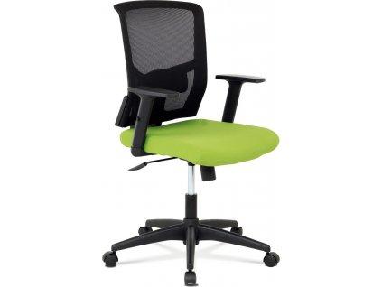 Kancelářská židle, látka zelená + černá, houpací mechnismus
