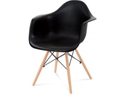 Jídelní židle, černý plast, masiv buk, přírodní odstín, černé kovové výztuhy