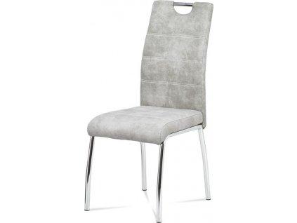Jídelní židle, potah stříbrná látka COWBOY v dekoru vintage kůže, kovová čtyřnoh