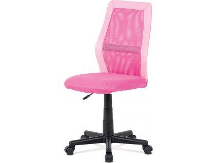 Kancelářská židle, růžová MESH + ekokůže, výšk. nast., kříž plast černý