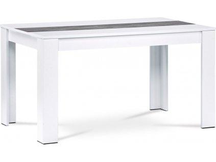 Jídelní stůl 138x80x74 cm, MDF, bílé lamino, dekorační pruh v dekoru beton