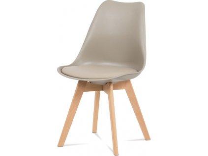 Jídelní židle, plast latté / koženka latté / masiv buk