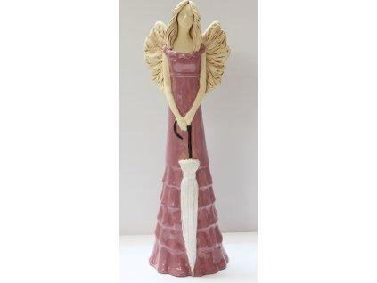Anděl Diana růžový s deštníkem