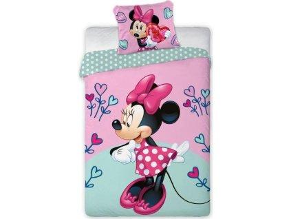 Dětské povlečení Myška Minnie s barevnými srdíčky 140x200 cm