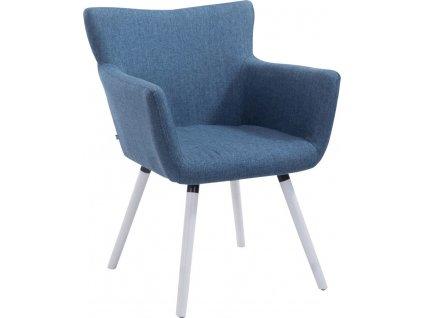 Jídelní židle s područkami Indian textil, bílé nohy