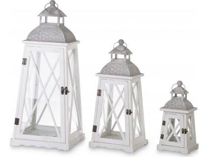 Sada 3 bílé lucerny s šedou střechou 132665
