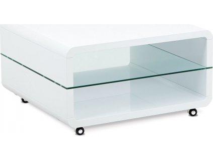 Konferenční stolek 80x80x40, MDF bílý vysoký lesk, čiré sklo, 4 kol