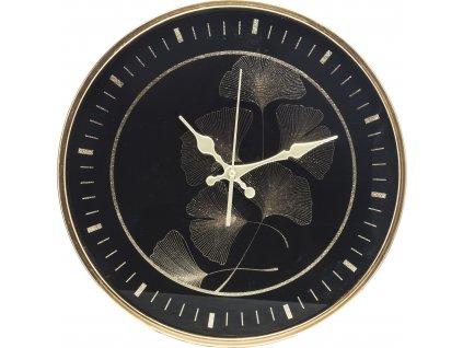 Černé hodiny zlaté gingko 130842