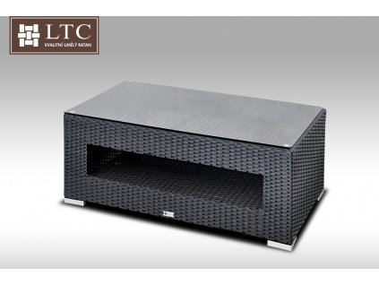 Konferenční stolek z umělého ratanu ALLEGRA černý POSLEDNÍ 2KS