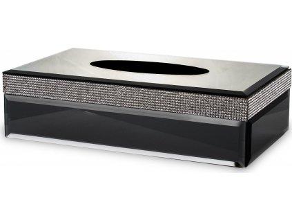 Černá krabička na kapesníky s kamínky 135182