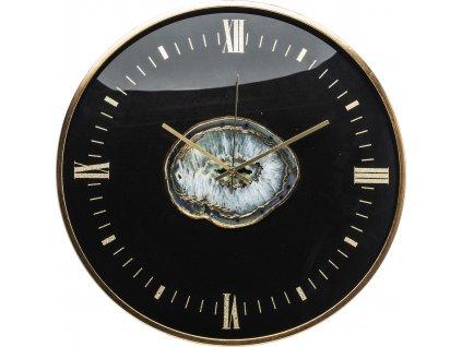 Černé hodiny achát 130856