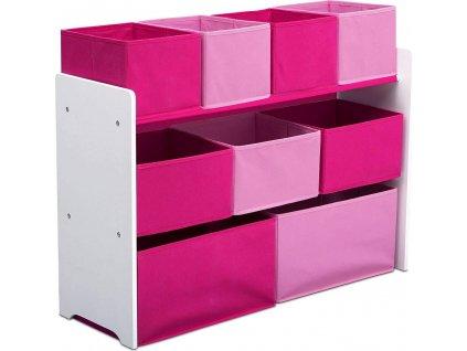 Organizér na hračky bílo-růžový