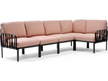KOMODO 5 modulárna sedačka - antracitový rám/ rosa quarzo poťah