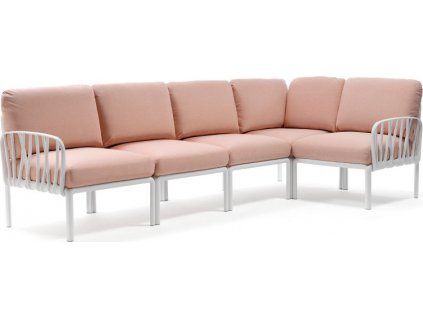 KOMODO 5 modulárna sedačka - biely rám/ rossa quarzo poťah
