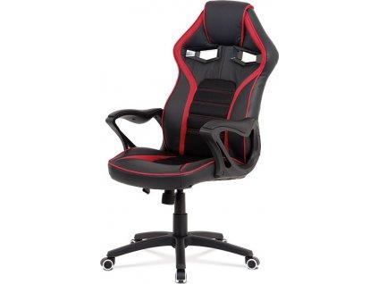 Kancelářská židle, potah černá ekokůže, černá a červená látka MESH, černý plasto