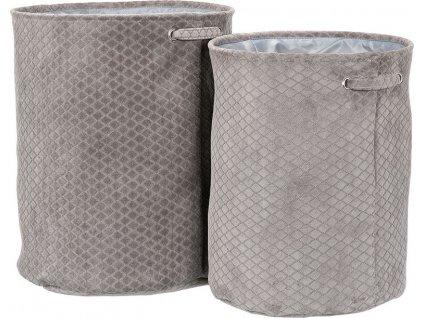 Koš na prádlo v šedivé látce, Sada 2ks, Polyester.