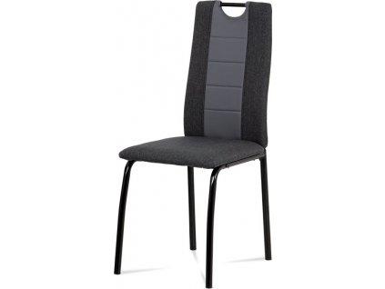 Jídelní židle, látka antracit + šedá ekokůže, kov matná černá