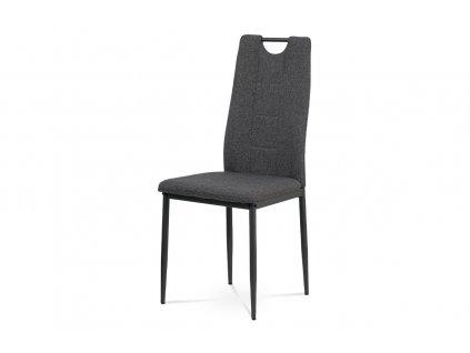 Jídelní židle, potah šedá látka, kovová čtyřnohá podnož, antracitový matný lak