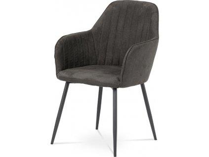 Jídelní židle, šedá látka, kov šedá mat