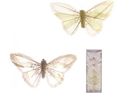 Motýl s klipem, 6ks v krabičce, barva bílá a smetanová s glitry, cena za 1 krabičku