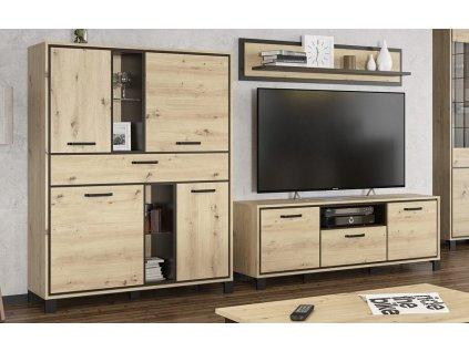 Obývací sestava SET1 BUCKET (komoda, TV stolek, police) dub artisan/wenge