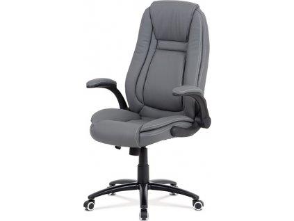 Kancelářská židle, potah šedá ekokůže, černý kovový kříž, houpací mechanismus, výklopné opěrky