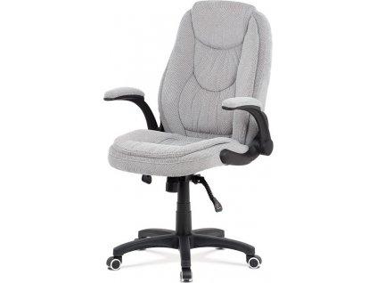 Kancelářská židle, šedá látka, kříž plast černý, synchronní mechanismus