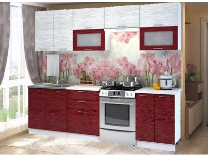 Kuchyně VALERIA 260 bk/red/white stripe