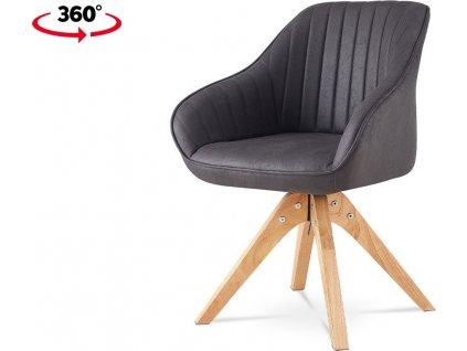 Jídelní a konferenční židle, potah šedá látka v dekoru broušené kůže, nohy masiv