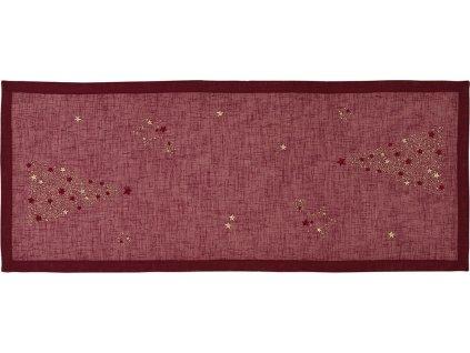 Vánoční středový pás Tree of Stars 50 x 140 cm, burgundský - Sander