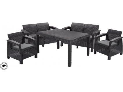 Velká jídelní sestava pro posezení 6 osob se stolečkem, černá, imitace ratan