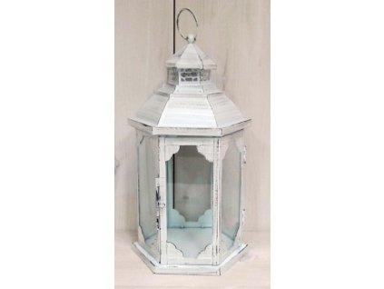 Bílá kovová lucerna LT0098W