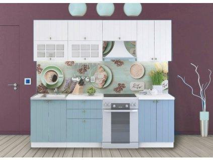 Kuchyně PROVENCE 240/180 bílá/světle modrá