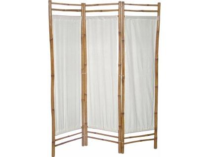 Bílý třídílný paravan kostra bambus