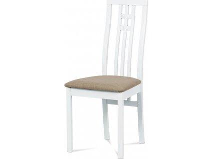 Jídelní židle, masiv buk, barva bílá, látkový béžový potah