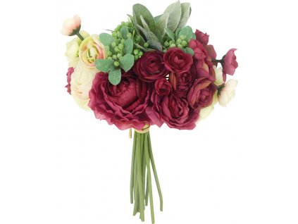 Ranunkulus, puget, barva vínová. Květina umělá.
