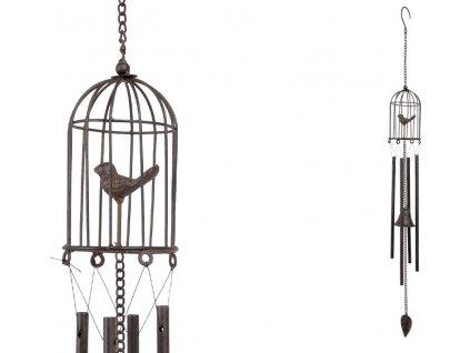 Zvonkohra s klíckou a ptáčkem, kovová dekorace na zavěšení