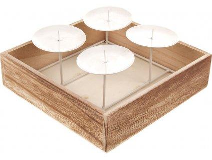 Svícen adventní dřevěný se 4 kovovými bodci, barva bílá.