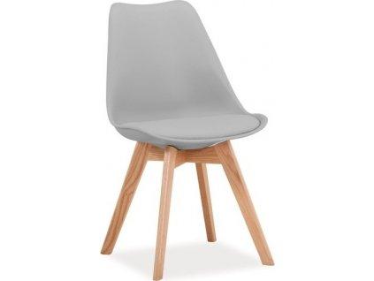 Jídelní židle KRIS světle šedá/dub