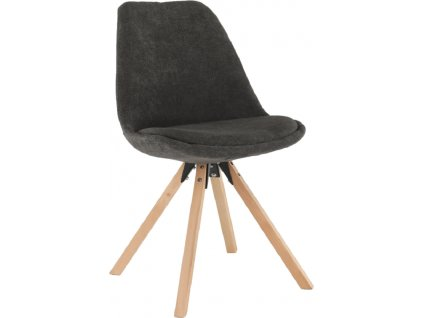 Tmavě hnědá čalouněná židle s dřevěnou podnoží