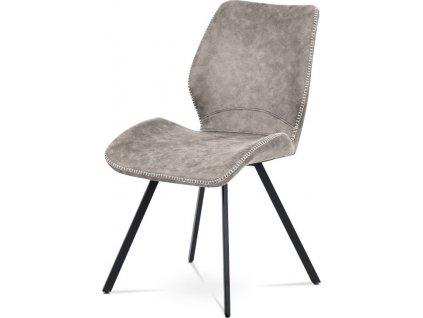 Jídelní židle, potah lanýžová látka v dekoru vintage kůže, bílé prošití,  kovová