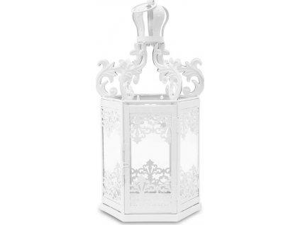 Bílá kovová lucerna s krajkou 114524
