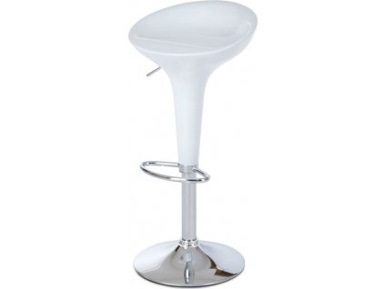 Barová židle, bílý plast, chromová podnož, výškově nastavitelná