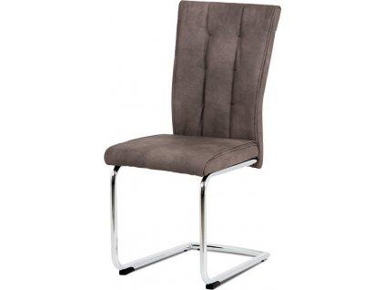 Jídelní židle, hnědá vintage ekokůže MAYA, chromovaná pohupová podnož