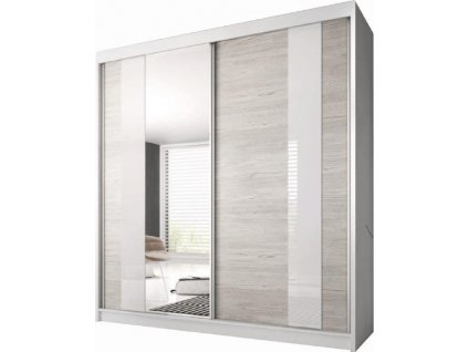 Skříň s posuvnými dveřmi, dub kathult světlý / bílá, 203x218, MULTI 32