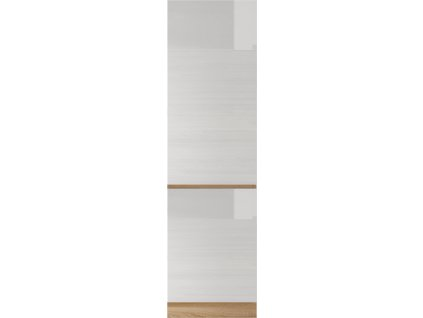 Potravinová skříňka D 60, vysoký bílý lesk/dub sonoma, LINE