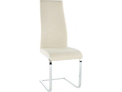 Jídelní židle, látka béžová / chrom, AMINA