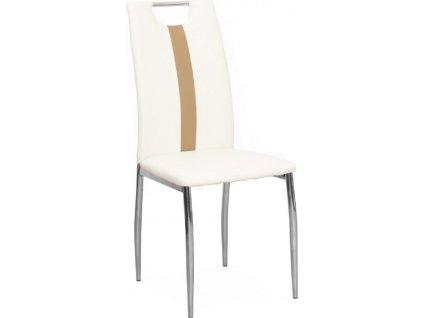 Židle, bílá / béžová ekokůže + chrom nohy, SIGNA