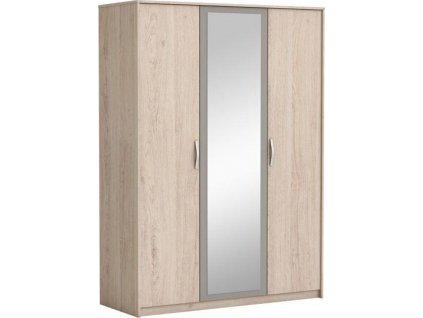 Ložnicová skříň 3 dveře, zrcadlo, dub, světlá/šedá
