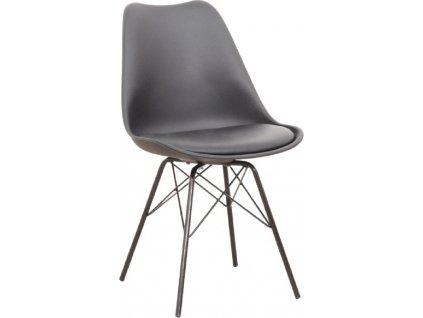 Designová moderní židle. Sedák ze šedé koženky, kovová podnož